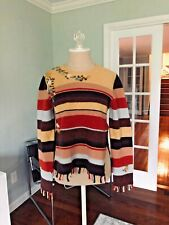 Easel Anthropologie New without tags Striped Wool knit Bohemian fringe sweater L