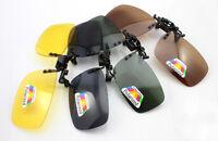 Polarized Lens UV400 Flip-Up Clip On Sunglasses Wear Over Glass Vision Driving