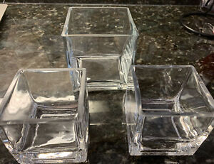 "Clear Glass Square Flower Vase Set Of 3. 1-4"" & 2-3"" Square. Centerpiece (J-129)"