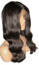 Virgin Human Hair Wig Full Lace 18 Long Black 1b Dark Brown 2 Silk Top Moklox UK