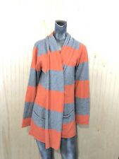 Pure Amici Women XL Orange Gray Cashmere Striped Open Front Shrug Sweater