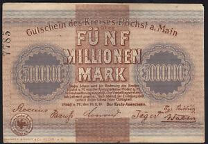 1923 5 Million Mark Hoechst Germany Vintage Emergency Paper Money Banknote VF