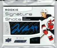 2018-19 UD ENGRAINED JOEY ANDERSON ROOKIE SIG SHOTS BLUE AUTO /49 DEVILS PD
