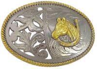 RODEO HORSE METAL BELT BUCKLE COWBOY /& WESTERN ANIMAL HEBILLA #123