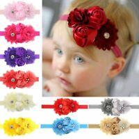 Baby Girl Lace Chiffon Rose Flowers Rhinestone Hair Band Pearl Headband