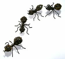 GARDEN ANTS  ROCK WITH WROUGHT IRON  YARD DECOR  set of 4