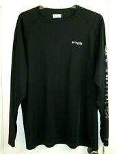 Columbia Pfg Men Long Sleeve Shirt Black Xl Omni Shade Camo Accent on Sleeve