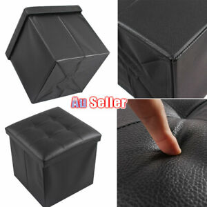 Folding Ottoman Pouf Stool Blanket Box Faux Leather  Footstool Storage Cube ACB#