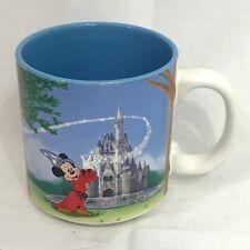 Disney World 20 Year Mickey Fantasia Castle MAgic Blue Coffee Mug