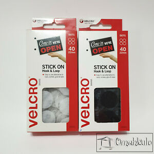 VELCRO Brand - 2 Packs of 22mm x 40 DOTS STICK-ON Hook and Loop - BLACK & WHITE