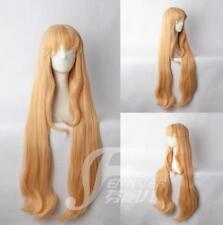 100 CM Long straight wig milk orange anime cosplay wig inclined bang female