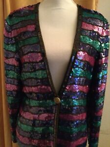 Vintage Joan Leslie Studio Sequin Evening Jacket Size Medium