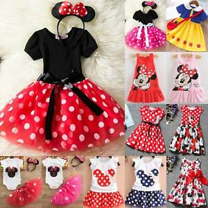 Minnie Mouse Baby Kids Girls Toddler Party Costume Tutu Dress Headband Outfit **
