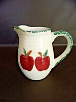 Vintage Ceramic Pitcher Red Apples With Green Trim (Imperfect)