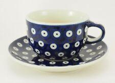 Bunzlauer Keramik Tasse mit Unterteller, Tee, Kaffee, 0,2Liter (F43-70A)