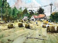 Landscape Painting Watercolor Original Impressionism Countrysides Autumn 15x11in