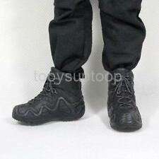 """Black Military Combat Boots Shoes 1/6 Scale Fit 12"""" Hot Toys Action Figure"""
