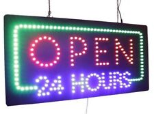"""Open 24 Hours Sign,Signage, Led Neon Open, Store, Window, Shop, Business 12""""X24"""""""