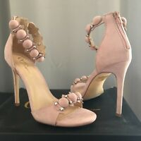 Womens Rose Gold Party Sandals Blush Suede High Heels -UK Size 6.5
