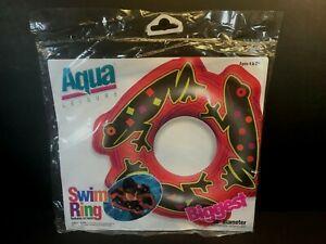 "1990s Aqua Leisure Inflatable Neon Frog Swim Ring 30"" Diameter"