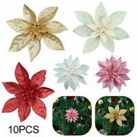 10x Künstliche Weihnachtsblumen Glitzer künstliche Blumen Frohe Weihnachtsbaum