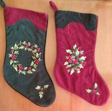 Christmas Stockings - Green With Red & Red With Green Trim & Embroidery