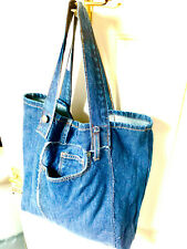 Tote Bag Large, made from recycled jeans, prewashed & unique. Handmade in the UK
