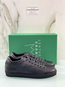 Leather Crown Iconic Sneaker Uomo In Pelle Nera Luxury Handmade 41