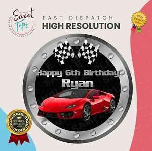 HIGH PERFORMANCE SPORTS CAR EDIBLE BIRTHDAY CAKE TOPPER DECORATION PERSONALISED