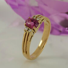 Ring in 585/- Roségold mit 1 Pink Turmalin + 4 Diamanten ca 0,04 ct - Gr. 53