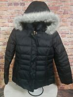 TOMMY HILFIGER Womens Black Down Fur Hooded Puffer Long Coat Jacket Size Large