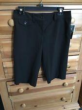 """New Women's INC Black Capris Pants Adjustable Waist  Washable Inseam 13.5"""" Sz 4"""