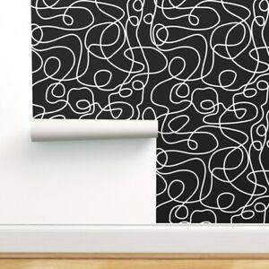 Removable Water-Activated Wallpaper White Black Line Art Pattern Retro Abstract