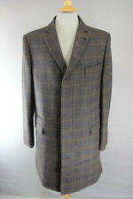 BRAND NEW MEN'S WOOL BLEND CHECKED BROWN OVERCOAT: 40 INCH (REGULAR FIT)