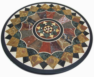 """36"""" Marble Round Table Top Inlay Handmade Work Home Decor"""