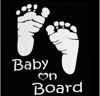 Vinyl Car Window Sticker Decal Graphic Bumper Baby On Board Feet Foot Prints
