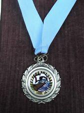 Team Lot Of 12 full color Cheerleading trophies medal award blue neck drape