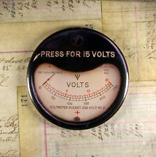 Printed Voltmeter Magnet - Press For 15 Volts Steampunk Mechanical Gears