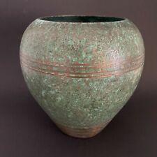 Carl Sorenson signed art deco patinated verdigris bronze round vase pot planter