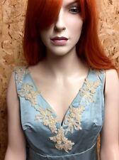 1950s Couture Ice Blue Silk Satin Ballgown UK 14