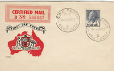 Stamp Australia 10d blue QE2 definitive on Guthrie generic FDC certified mail