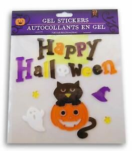 NEW HAPPY HALLOWEEN 23 pc Window Gel Clings Decor Cat Jack o Lantern Ghost Skull