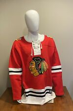 Chicago Blackhawks Fanatics Red Lace Up Fleece Hockey Jersey Sweatshirt NHL 3XL