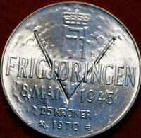 1970 NORWAY - 25 KRONER - 25 YRS. OF LIBERATION - 1 Oz BU SILVER CROWN - BEAUTY!