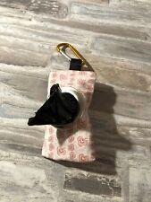 HANDMADE FABRIC DOG POO POOP BAG HOLDER DISPENSER pink colours