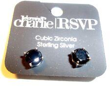 CHARMING CHARLIE Earrings pierced stud sterling silver  W/ BLACK CUBIC ZIRCONIA