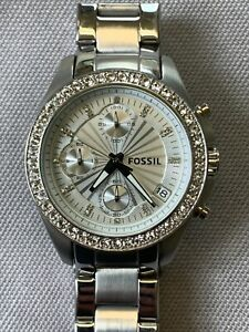 Fossil Womens Quartz Watch Petite Bracelet ES-2681 Silver Dial Analog Chrono