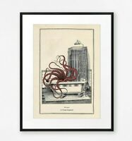 Funny Vintage Surreal Gothic Steampunk Octopus Violin Wall Print Music Gift