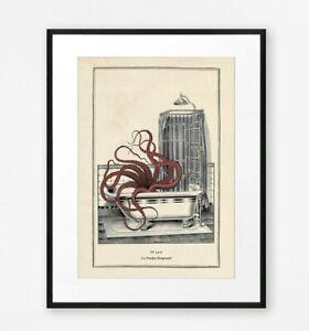 Vintage Funny Surreal Gothic Octopus Bathroom Shower Wall Art Horror Print