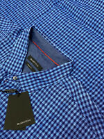 NEW - Bugatchi Blue & Black Plaid Shaped Fit LS Button Shirt Men's 2XL.A220